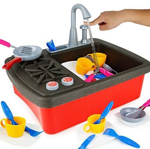 XIALIUXIA Kinder Elektrische Spülmaschine Spielen Spielzeug Mit Fließendem Wasser/Echt Wasserhahn Und Spielgeschirr, Geschirr Und Herd, Küchenspielzeug Für Kleinkinder Und Kinder