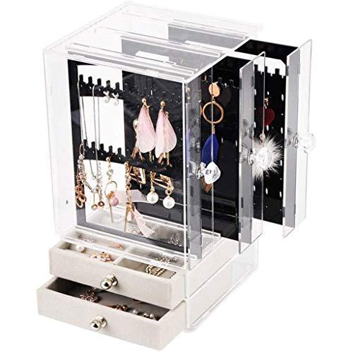 TONGSH Anillo Collar de Cuero sintético Enorme joyería Caja de Reloj Organizador Pendiente de Almacenamiento Caja de Regalo con Cierre