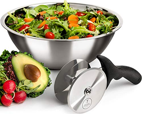 Salad Chopper Blade and Bowl – Stainless Steel Salad Cutter Bowl with Chef Grade Mezzaluna Salad Chopper – UltraFast Salad Prep by Kitchen Hackables