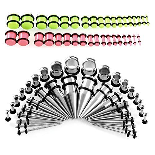 MQSS 14G-00G Juego de 72 piezas de dilatación de orejas, kit de estiramiento de calibre de oreja de acrílico, expansor de cuerpo, piercing punk, roca, tatuaje, calle o desgaste diario verde y rosa