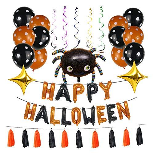Confezione da 44 palloncini in pellicola di alluminio per Halloween, set di nappe ragno gonfiabili, decorazioni per la casa