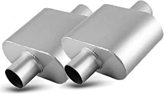 2.5 Inch Single Chambered Universal Mufflers, AUTOSAVER88 High Performance Stainless Steel Race Muffler 2.5 Center IN / 2.5 Center OUT- Amazing Sound