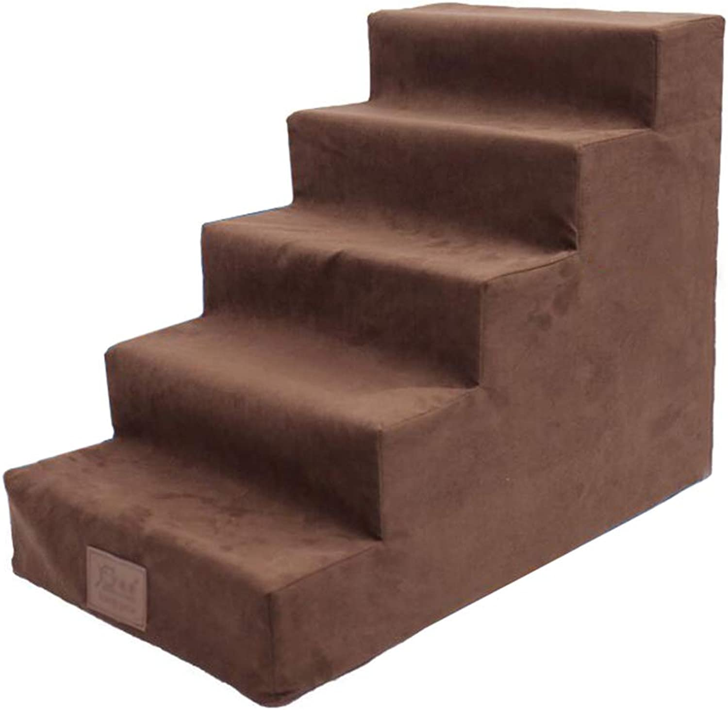 Pet stairs 5 Step Stool Dog Stairs for High Bed, Medium Dogs Pet Cat for Bed Sofa, Sponge Suede, Brown