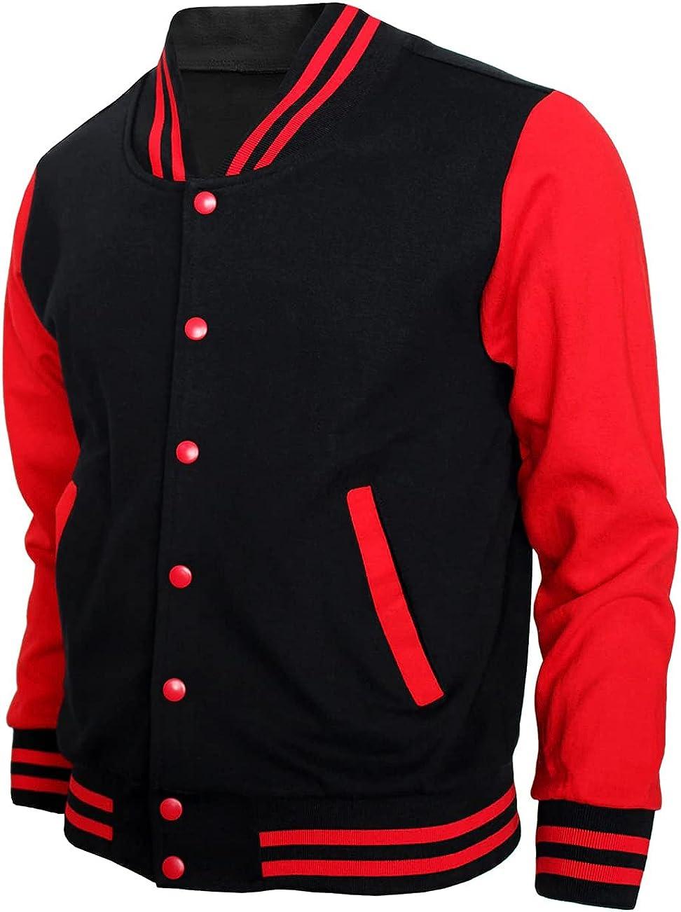 Men's Letterman Baseball Varsity Jacket Fleece Cotton Full Te 8 Ranking TOP11 Max 60% OFF