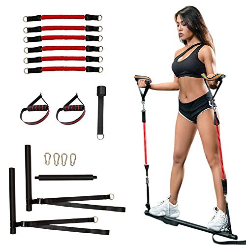 Clothink Portable Pilates Bar Kit with 6 Resistance Bands, Detachable Exercise Stick Strength Training Home Workout Equipment
