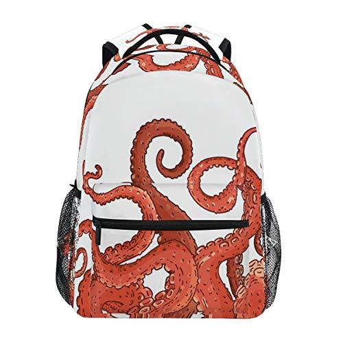 Mochilas escolares para niñas y niños, pulpo, calamares, animales marinos, personalizables, bolsa de senderismo, camping