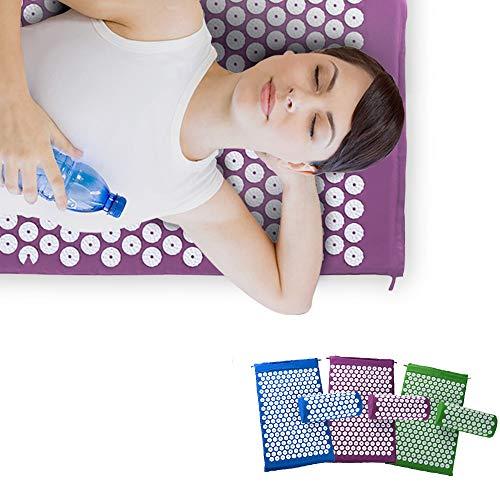 AKBQ Wellness-Therapie Akupressurmatte Set - Prick Freie Akupunktur Matte Und Akupunktur-Kissen Für Entspannung Und Schmerzlinderung - Waschbar Und Reisetasche,Grün