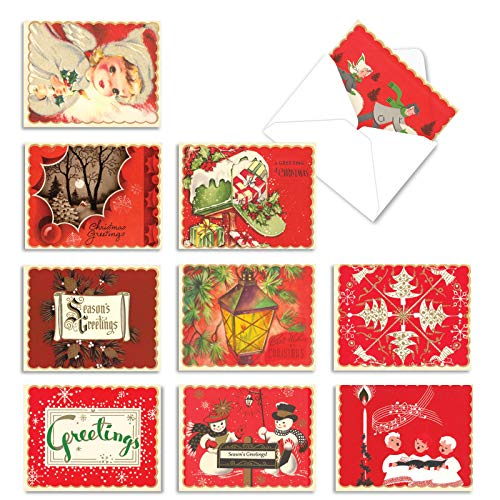 The Best Card Company - 10 Retro Merry Christmas Cards Bulk - Vintage Holiday Notecards with Envelopes (4 x 5.12 Inch) - A Crimson Christmas M1757XS