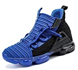 JMFCHI Boys Basketball Shoes Kids High-top Sneakers Sports Shoes Durable Lace-up Non-Slip Running Shoes Secure for Little Kids Big Kids and Girls Size 2.5 Blue