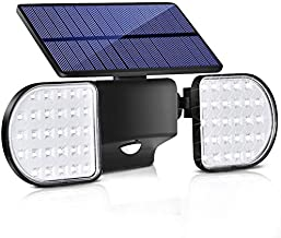 Bebrant Solar Motion Lights Outdoor, 56 LED Motion Sensor Security Lights IP65 Waterproof Solar Flood Lights 360° Adjustable Double-Head Spotlights for Front Door Garden Yard Patio (1 Pack)