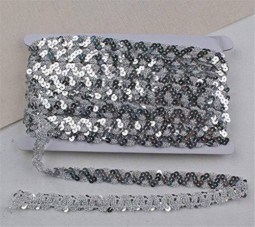 SWECOMZE Paillettenband 12m Pailletten Band Glänzende Paillettenbänder für DIY Bastelprojekte, Tanzbekleidungen (Silber)