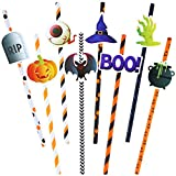 Aneco 64 Sets Halloween Themed Paper Drinking Straws Pumpkin Ghost Spider Bat Spider Web Witch Hat Pattern Decorative Drinking Straws for Party Supplies, 8 Style
