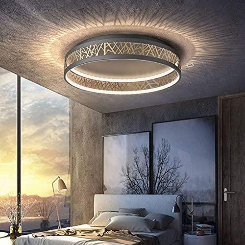 LED Lámpara de techo con control remoto para dormitorio, lámpara de plafón de sala de estar regulable, para oficina, comedor, estudio, iluminación de techo, Ø52cm, lámpara de araña oro negro moderno