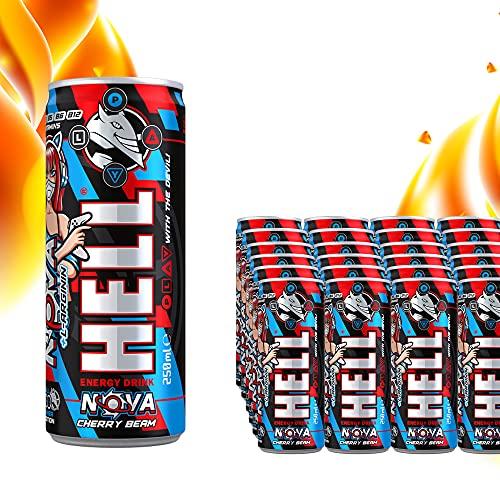Hell GAMER Nova Energy Drink mit Cherry Beam Geschmack | 24 x 250 ml | Koffeingehalt 32 mg/100 ml, Acetyl-L-Carnitin, L-Arginin und B-Vitaminen | OHNE Pfand | Dosen Getränke