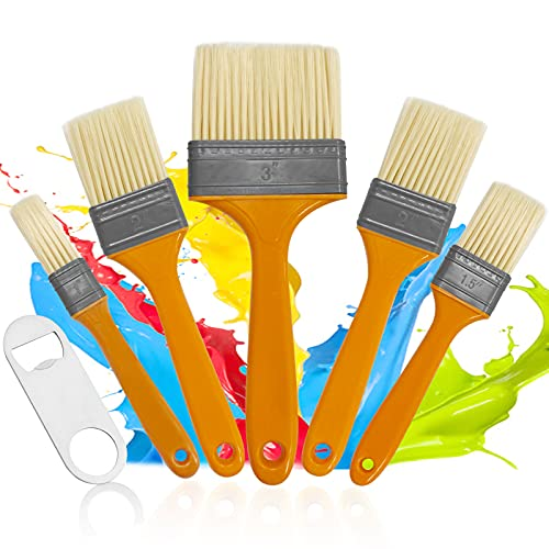 Streichpinsel-Set,5pcs Hausmalpinsel,Pinselset mit Holzgriff für Farben,flachpinsel Set Lack,Pinselset Maler,Pinsel Maler,Pinselset Malerpinsel Set,Zierleistenpinsel,Fensterrahmenpinsel,Lasurpinsel