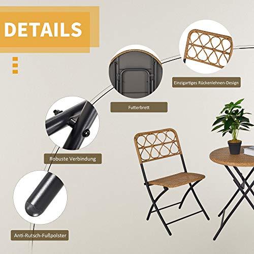 Outsunny 3 TLG. Polyrattan Sitzgruppe Bistroset Balkonset Garnitur 2 Stühlen + Tisch Klappbar Garten Natur - 5