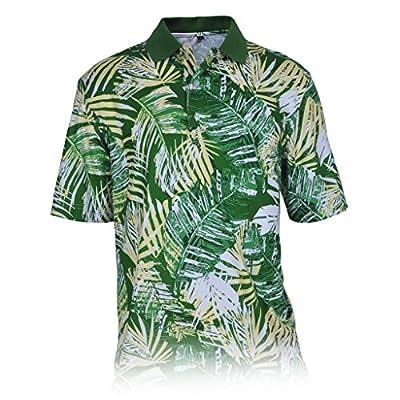 Monterey Club Men's Grand Paradise Print Polo Shirt #1536 (Verdant Green/Butter, X-Large)