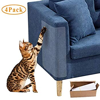 XUNKE4PCS Protecteur De Rayure De Chat,Protecteur de Chat Catch Scratch Transparent Flexible avec 20 vis, Pet Couch Protector Stop Chats Scratching Furniture Éviter Les Rayures