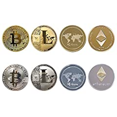 Eight Packs of metal gold and silver coins [Bitcoin (BTC) ,Litecoin (LTC),Ripple XRP and Ethereum(ETH).] Authentic, Well made, Attractive, and Heavy Gold Plated Coins to add to any medallion collection The bitcoin is made of silver plated, gold plate...