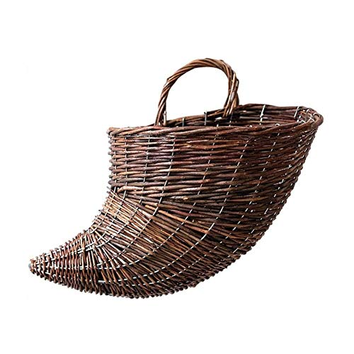 ZHENAO Hanging Storage Basket Rattan Shopper Basket Hand Made Wicker Hamper Flowers Storage Bin Bedroom Restaurant Flower Basket Decorative Basket Home Decor Basket