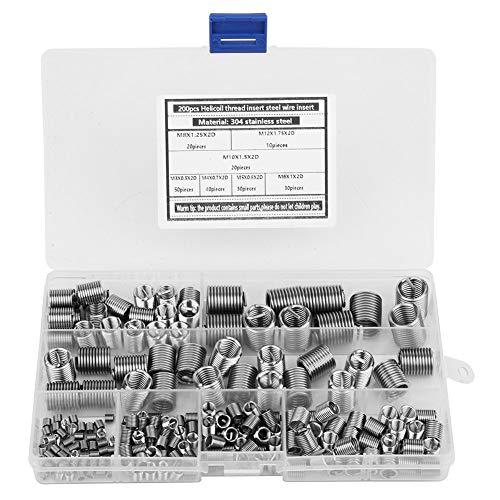 SANON Kit de Reparación de Roscas de 200 Piezas Manguito de Reparación de Tornillos de Alambre en Espiral Herramientas de Reparación de Roscas de Inserción Roscada de Acero Inoxidable