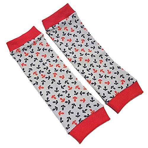 Stulpen - Anker Grau-Rot - Beinstulpen für Babys und Kinder - 4 Größen verfügbar - Handarbeit - Kinderstulpen und Babystulpen für Jungen und Mädchen