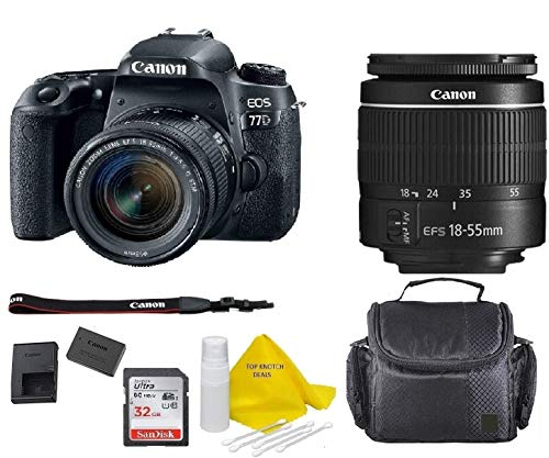 Canon EOS 77D DSLR Camera with EF-S 18-55mm f/3.5-5.6 III Lens + 32GB Memory Bundle +TopKnotch Deals Cloth (International Model)