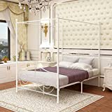 JURMERRY Canopy Bed with Sturdy Metal Frame Premium Steel Slat Support/No Box Spring Needed, (White, Full)