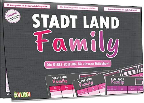 Kulinu Gesellschaftsspiel - Stadt, Land, Family - Geschenk für Mädchen ab 8 Jahren - Quiz Spiel Geschenk-Idee Spieleabend Kindergeburtstag Familienspiel Reisespiel (Mädchen, 3X Spieleblock)