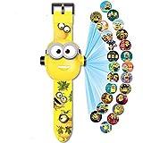 Reloj de Pulsera con proyector Digital, Reloj de Juguete para niños, Reloj de Dibujos Animados con patrón de 24 imágenes, para Regalos para niños/niños (Spiderman) (Minions)