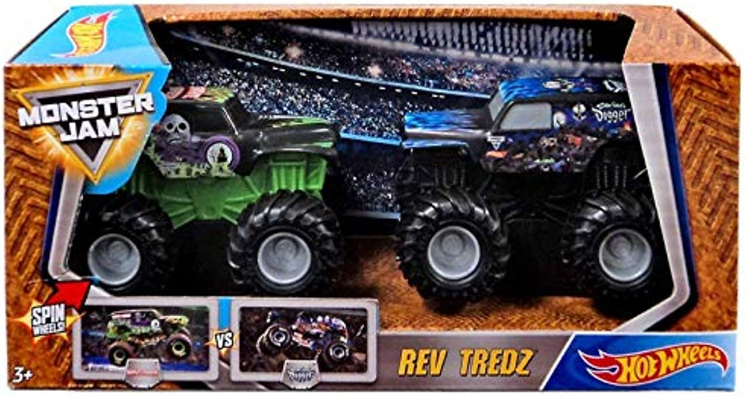 Hot Wheels Monster Jam Rev Tredz Vehicle 2Pack Grave Digger Vs Son Uva Digger