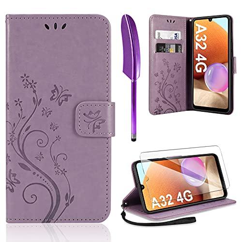 AROYI Cover Compatibile con Samsung Galaxy A32 4G, Retro Design Flip Caso in PU Pelle Premium Portafoglio Slot per Schede Chiusura Magnetica Custodia Compatibile con Samsung Galaxy A32 4G Purple