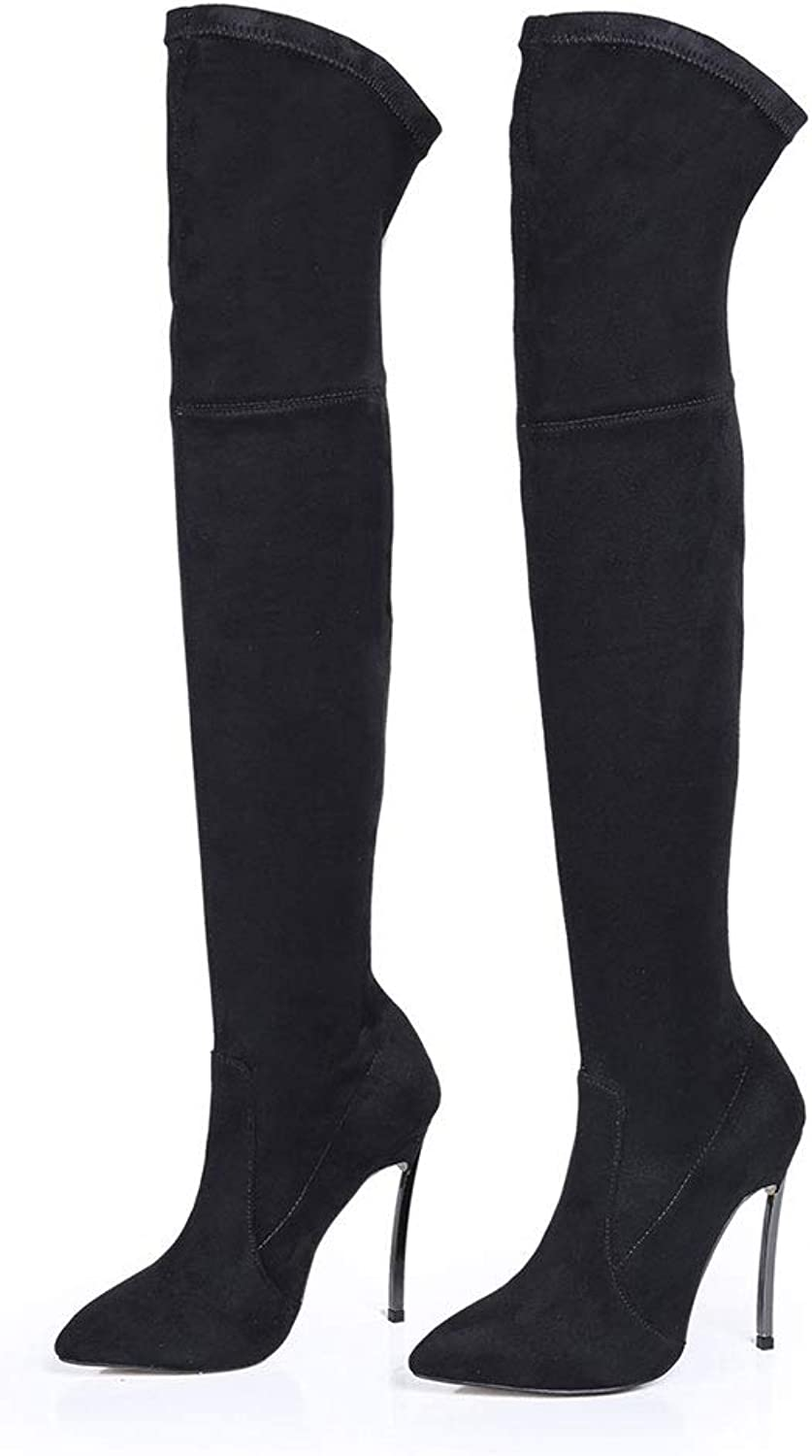 High Heels Over The Knee Boots Women's Stiletto Elastic Boots Pointed Large Size High Boots Sewing Thread Thigh High Waterproof Platform Comfortable Long Boots