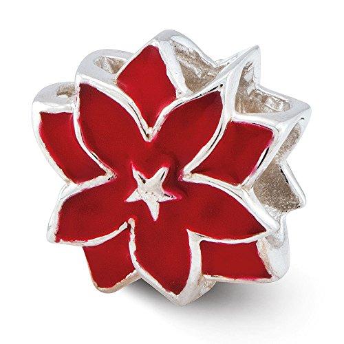 Hermosa plata esterlina reflexiones rojo esmaltado flor grano