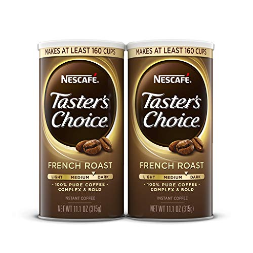 NESCAFE Taster's Choice, French Roast Medium Dark Roast Instant Coffee, 11.1 oz. Resealable Canister, 2 Pack (320 cups total)