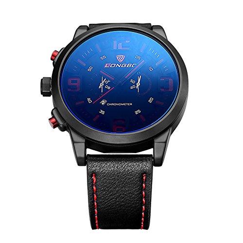 iWatch Herren-Armbanduhr Übergroß Uhr Sportuhr Analog Quarz 3ATM wasserdicht Datum Leder Armband Schwarz Blau