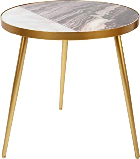 Modern Faux Marble Top Side End Table with Gold Frame (18x18x18-inch, Black Marble Look)