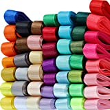 Set de Cintas de Grosgrain Sólidas de 48 Color 96 Yardas 3/8 Pulgadas de Ancho Cinta de Tela de Color Arcoiris para Coser Artesanía de Lazos de Pelo Fiesta Boda Envoltura de Regalo Arreglo Floral