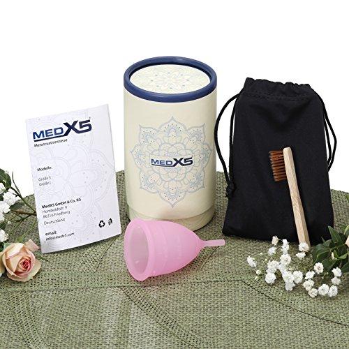 MedX5 (Upgrade 2019) Menstruationstasse aus medizinischem Silikon, Menstruationskappe inkl. Reinigungsbürste, Beutel und Geschenkbox, Größe: S Menstruationskappe, Farbe: Pink