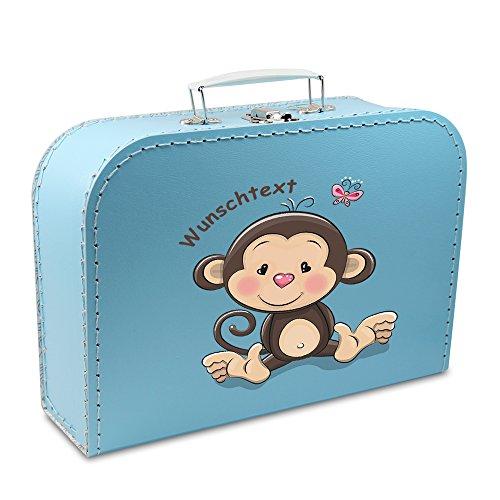 OLShop AG Kinderkoffer Pappe 35 cm blau mit AFFE und Wunschname, Malkoffer Spielkoffer Puppenkoffer Pappkoffer