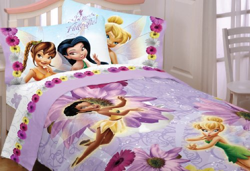 purple floral fairy friends and tinkerbell bedding
