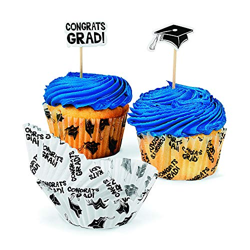 Fun Express Graduation Cupcake Liners with Picks (100 Picks and 100 Cupcake Liners) 'Congrats Grad' and Graduation Cap, Party Supplies and Decorations
