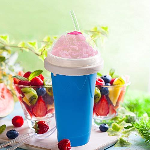 Fabricante de Slushy DIY – Fabricante de Milkshake Rápde, rasqueta de taza de refrigeración, taza de sílice de doble capa, taza de salise, taza de helado, silicona, taza mágica Presser (azul)