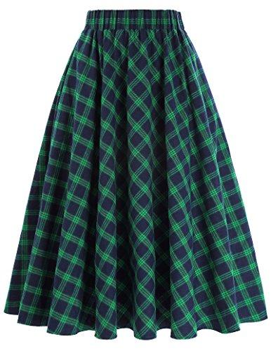 GRACE KARIN Green and Blue A-Line Flared Swing Midi Skirt Size L KK633-1