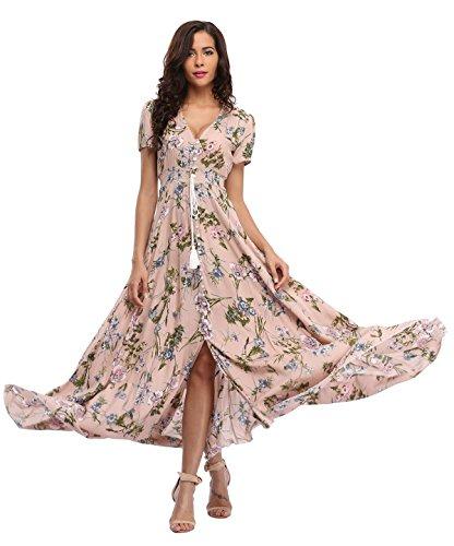 Ferrendo Summer Women's Floral Maxi Dress Button Up Split Flowy Bohemian Party Beach Dresses Champagne