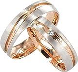JC Trauringe Gold 585 Paarpreis Bicolor Rotgold und Weißgold I Eheringe breit 5 mm I Partnerringe mit Gravur in edler Schatulle I 2...