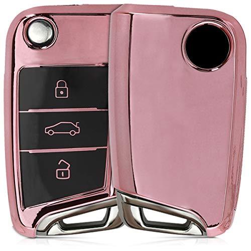 kwmobile Autoschlüssel Hülle kompatibel mit VW Golf 7 MK7 3-Tasten Autoschlüssel - TPU Schutzhülle Schlüsselhülle Cover in Hochglanz Rosegold