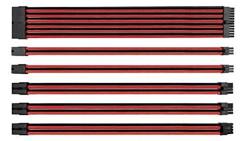 EZDIY-FAB MOD Sleeved Cable-Prolunga per Cavo di Alimentazione con Manicotto Extra 24 Pin 8PIN 6PIN 4+4 Pin con Pettini 300mm-Rosso Nero
