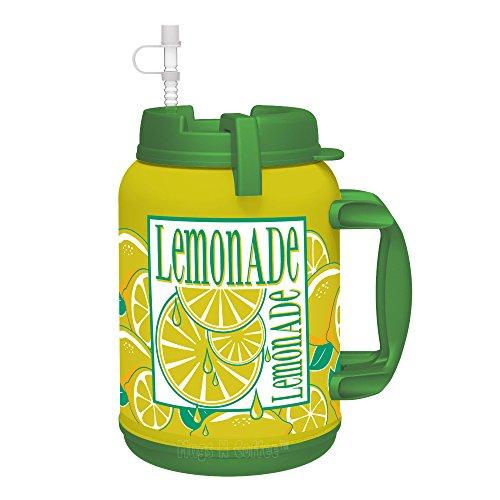 64 oz LEMONADE Insulated Mug - Travel Mug with Large Carry Handle and Straw