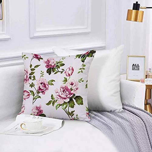 Lilatomer dekorativer Kissenbezug,Stuhl, Bettwäsche, Aquarell Chintz Tag Shabby Chic Vintage Me Rosen Tulpen VergissmeinnicKissenbezüge für Couch, (45 x 45 cm) mit unsichtbarem Reißverschluss